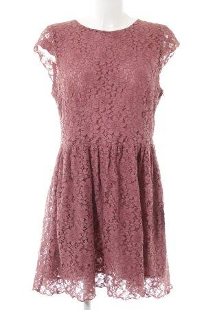 H&M Divided Spitzenkleid himbeerrot-rosa Elegant
