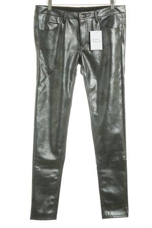 H&M Divided Stoffhose silberfarben-schwarz Glanz-Optik