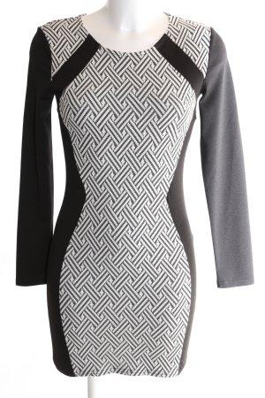 H&M Divided Stretchkleid schwarz-weiß grafisches Muster Business-Look