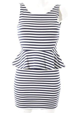 H&M Divided Stretchkleid dunkelblau-wollweiß Streifenmuster Elegant