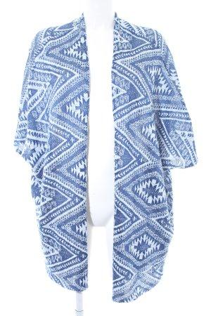 H&M Divided Strick Cardigan stahlblau-wollweiß Aztekenmuster Boho-Look