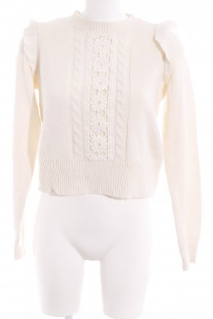 H&M Divided Strickpullover creme Blumenmuster Casual-Look