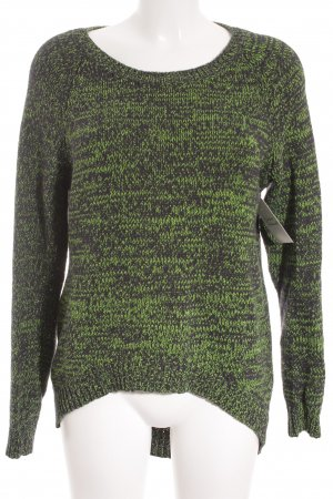 H&M Divided Strickpullover schwarz-neongrün meliert Street-Fashion-Look