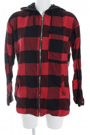 H&M Divided Sweat Jacket black-red check pattern simple style
