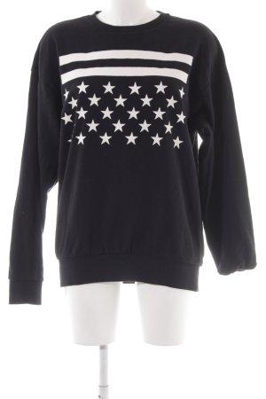 H&M Divided Sweatshirt schwarz-weiß Motivdruck Casual-Look