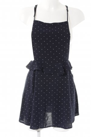 H&M Divided Trägerkleid dunkelblau-wollweiß Punktemuster Casual-Look