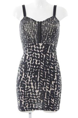 H&M Divided Trägerkleid schwarz-creme abstraktes Muster Casual-Look