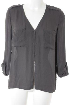 H&M Divided Transparenz-Bluse anthrazit-grau Business-Look