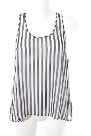 H&M Divided Transparenz-Bluse schwarz-weiß Streifenmuster Beach-Look