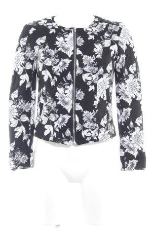 H&M Divided Übergangsjacke schwarz-weiß florales Muster Casual-Look