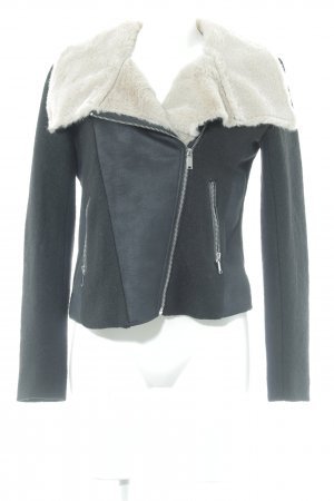 H&M Divided Wolljacke schwarz-creme Casual-Look