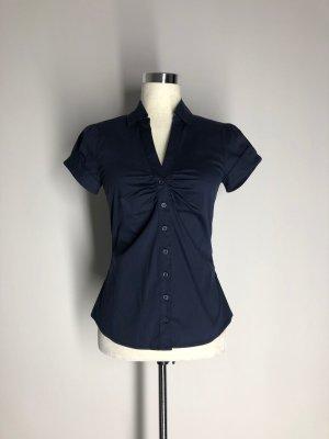 H&M dunkelblaue Kurzarm-Bluse