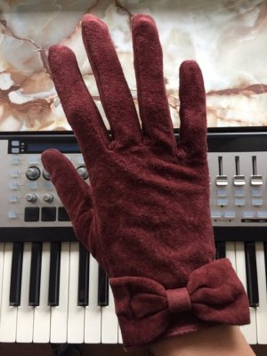H&M Leather Gloves bordeaux-brown red