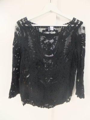 H&M durchscheinendes, besticktes Langarmshirt