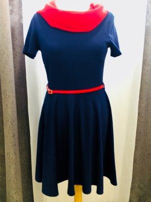 H&M Robe à manches courtes bleu foncé polyester
