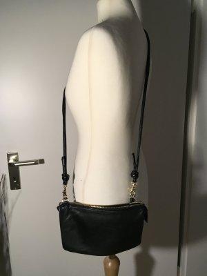 H&M echt Leder Clutch/ Umhängetasche schwarz