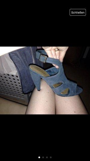 H&M echt Leder Sandaletten Sandale High Heel Gr. 37 petrol