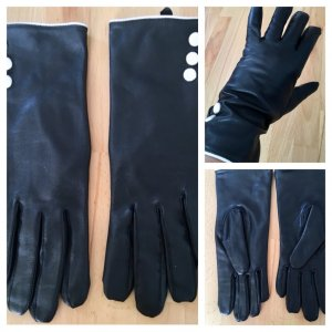 H&M Faux Leather Gloves black-white imitation leather