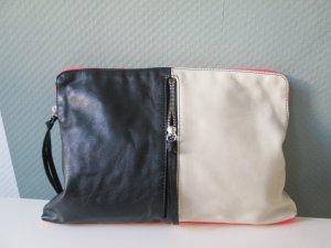 H&M Echtleder Clutch Tasche Ledertasche schwarz/weiß/neonpink