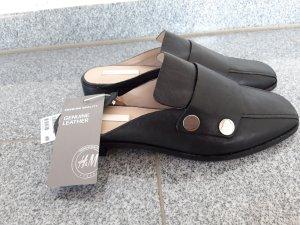 H&M Echtleder Mules Gr.38 schwarz/silber neu