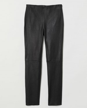 H&M Premium Pantalone in pelle nero