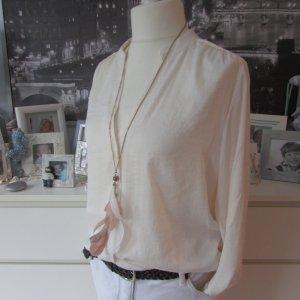 H&M * Edle Langarm Bluse seidenähnlich * creme-offwhite * 44/46 NEU