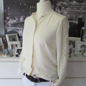 H&M * Edle Spitzen Langarm Bluse * creme offwhite * XS=34/36