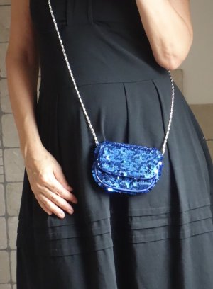 H&M edles Täschchen, Clutche, blitzblau royalblau, Pailletten, Glitzer, Glanz, edel, elegant, Party, Kette, zum Schrägtragen, 13 x 11 x 3 cm, neuwertig