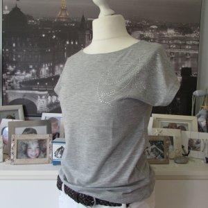H&M * Edles Viskose Shirt * hellgrau Glitzersteinchen * M=40/42