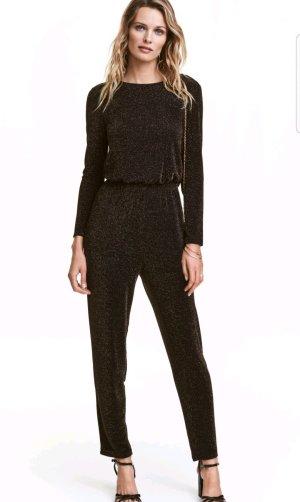 H&M Einteiler Overall 32 34 XXS XS schwarz gold Bodycon Playsuit Jumpsuit Top