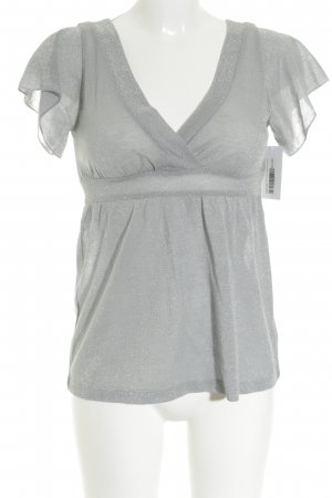 H&M Empire Waist Shirt silberfarben-grau Glitzer-Optik