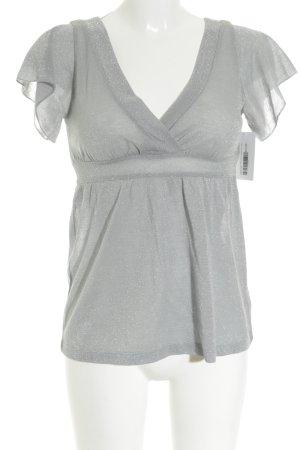 H&M Empire Waist Shirt silver-colored-grey glittery