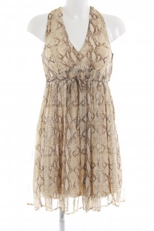 H&M Empire Dress natural white-brown abstract pattern party style