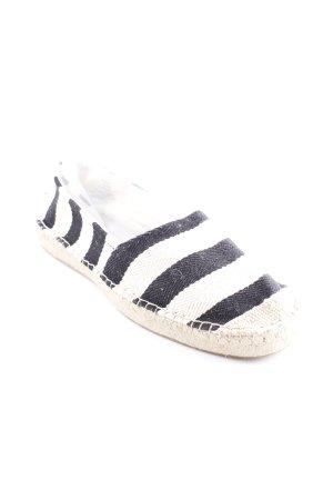 H&M Espadrilles-Sandalen schwarz-hellbeige Streifenmuster Beach-Look