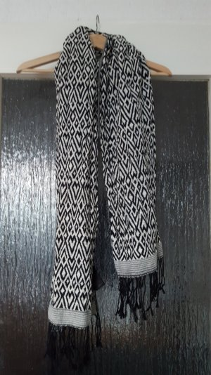 H&M - Ethnoschal in schwarz weiß