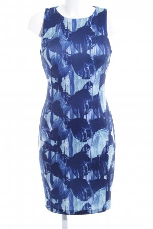 H&M Etuikleid dunkelblau abstrakter Druck Business-Look