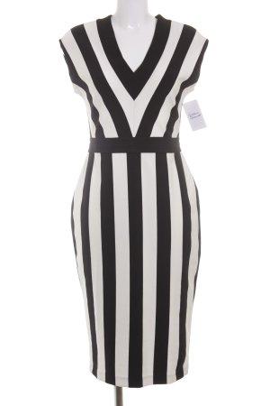 H&M Etuikleid schwarz-weiß Streifenmuster Elegant