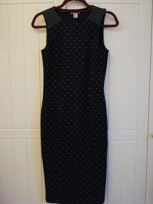 H&M Vestido elástico azul oscuro-blanco