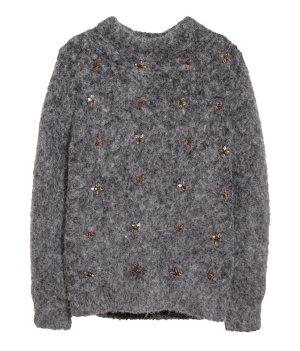 H&M Exclusive Alpaka Merino Wolle Pullover grau kuschelig Perlen & Sternchen Gr. 36 XS S NEU! NP €50