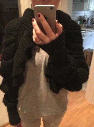 H&M extravagante Strickjacke schwarz Rüschen