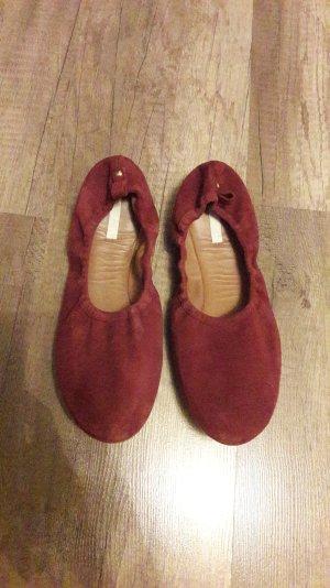 H&M faltbare Ballerinas Ballerina Flats Wildleder Bordeaux Burgund Weinrot 41