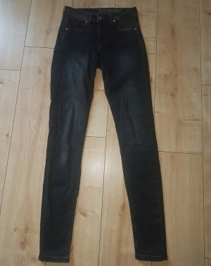 H&M Feather Soft Jeggings Black Washed Denim Skinny Jeans Low Waist 29 / 32 bzw S 36