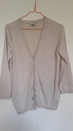 H&M Feinstrick Cardigan Seide Baumwolle seidenglänzend 3/4-lange Ärmel hell-beige Gr. S