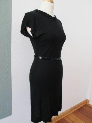 H&M Feinstrick Kleid mit Perlenkragen und Seidenanteil Gr. s