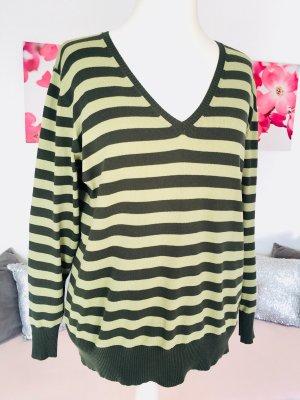 H&M Feinstrick Pullover Gr. 44/ 46 - dunkelgrün/ hellgrün