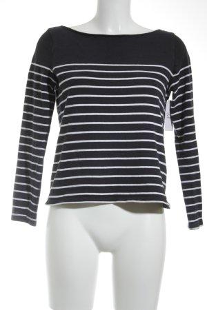 H&M Feinstrickpullunder dunkelblau-weiß Streifenmuster klassischer Stil