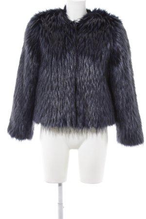 H&M Felljacke schwarz-stahlblau Elegant