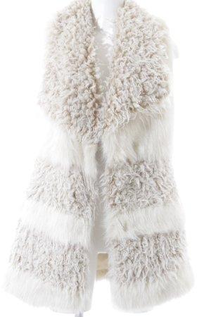 H&M Felljacke wollweiß-hellbeige Streifenmuster Casual-Look