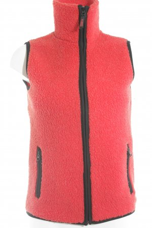H&M Fleece vest rood-zwart colour blocking casual uitstraling