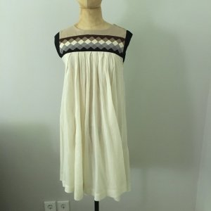 H&M Babydoll Dress natural white-camel cotton
